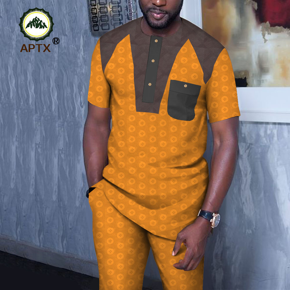 APTX jacquard fabric cotton suit for Mens Clothing short Sleeve Saudi Arab Thobe Jubba Thobe Man Kaftan 2pc T1916016