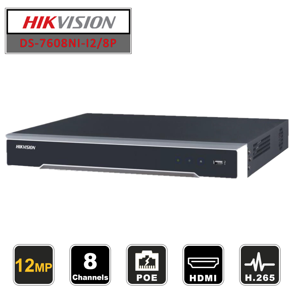 Hikvision Original 8ch CCTV enregistreur PoE NVR DS-7608NI-I2/8 P Ports Plug & Play 2 SATA réseau vidéo Recoder jusqu'à 12MP H265