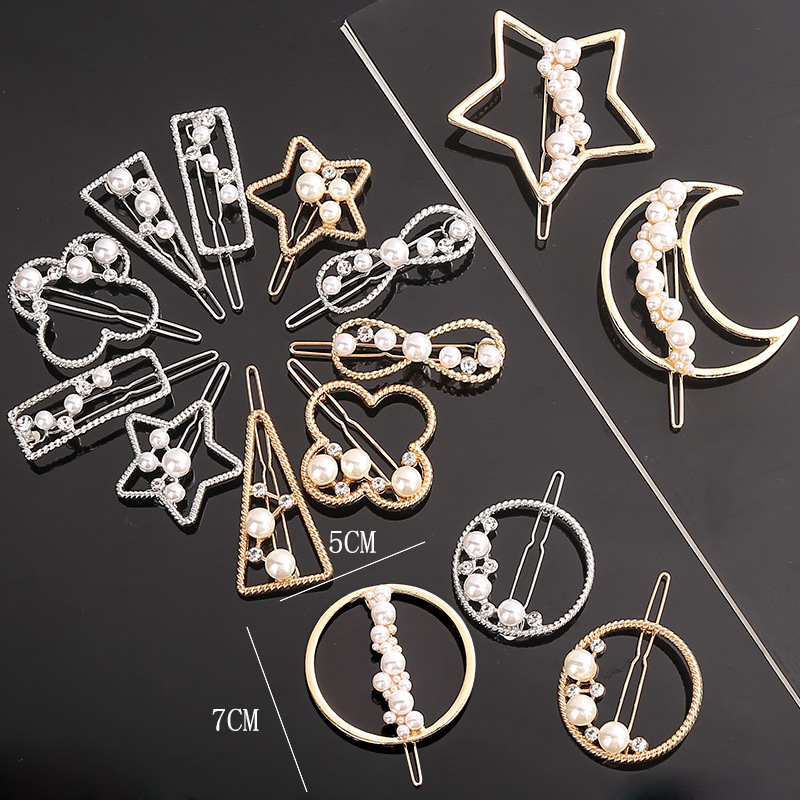 Fashion Woman Geometric Metal  Hair Accessories Star Hair Clip Pin  Alloy Headwear  Moon Circle Hairgrip Barrette Girls Holder