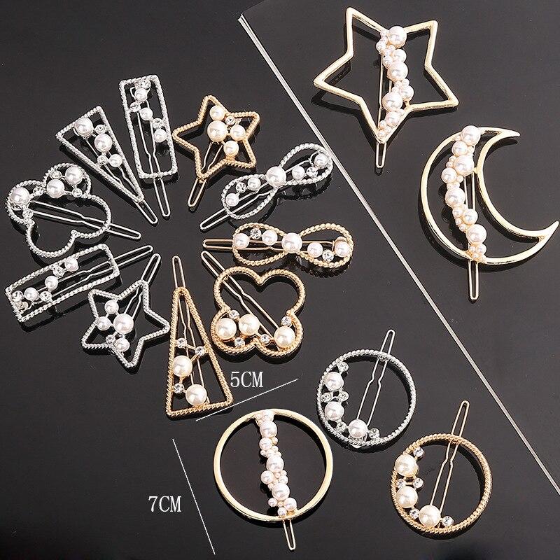 Fashion Woman Geometric Metal  Hair Accessories Star Hair Clip Pin  Alloy Headwear  Moon Circle Hairgrip Barrette Girls Holder