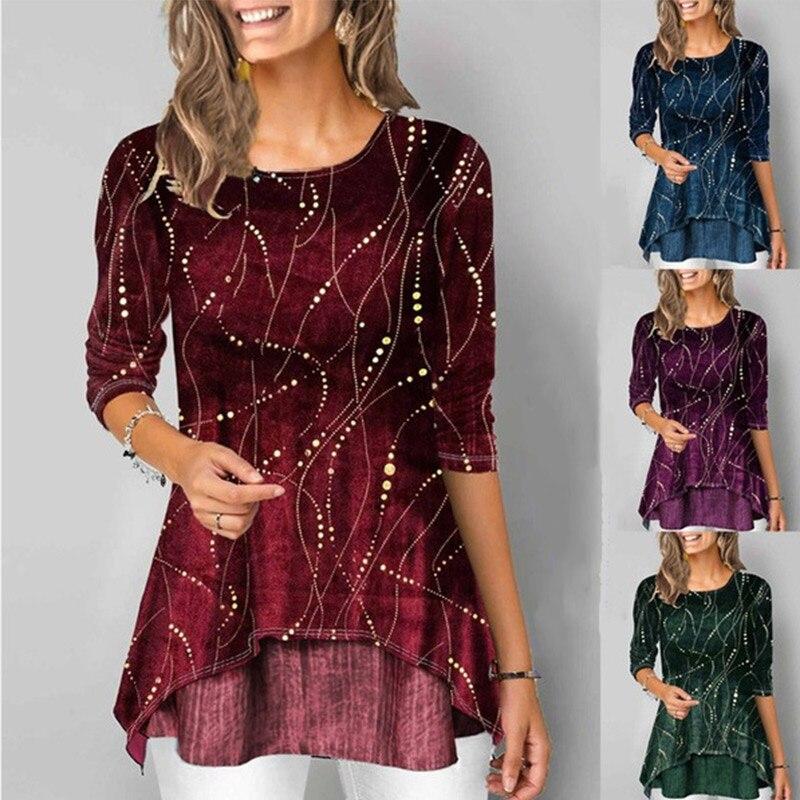 Irregular Hem Women Blouse Shirt Tunic Print O-Neck 3/4 Sleeve Female Tops 2020 Spring Summer Casual Ladies Shirts Plus Size 5XL