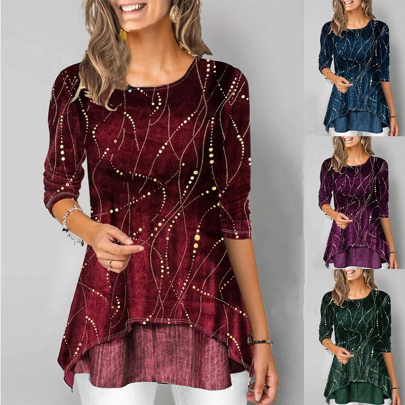 Irregular Hem Women Blouses Tunic Print O-Neck 3/4 Sleeve Female Tops 2020 Spring Summer Casual Ladies Blouse Plus Size 5XL