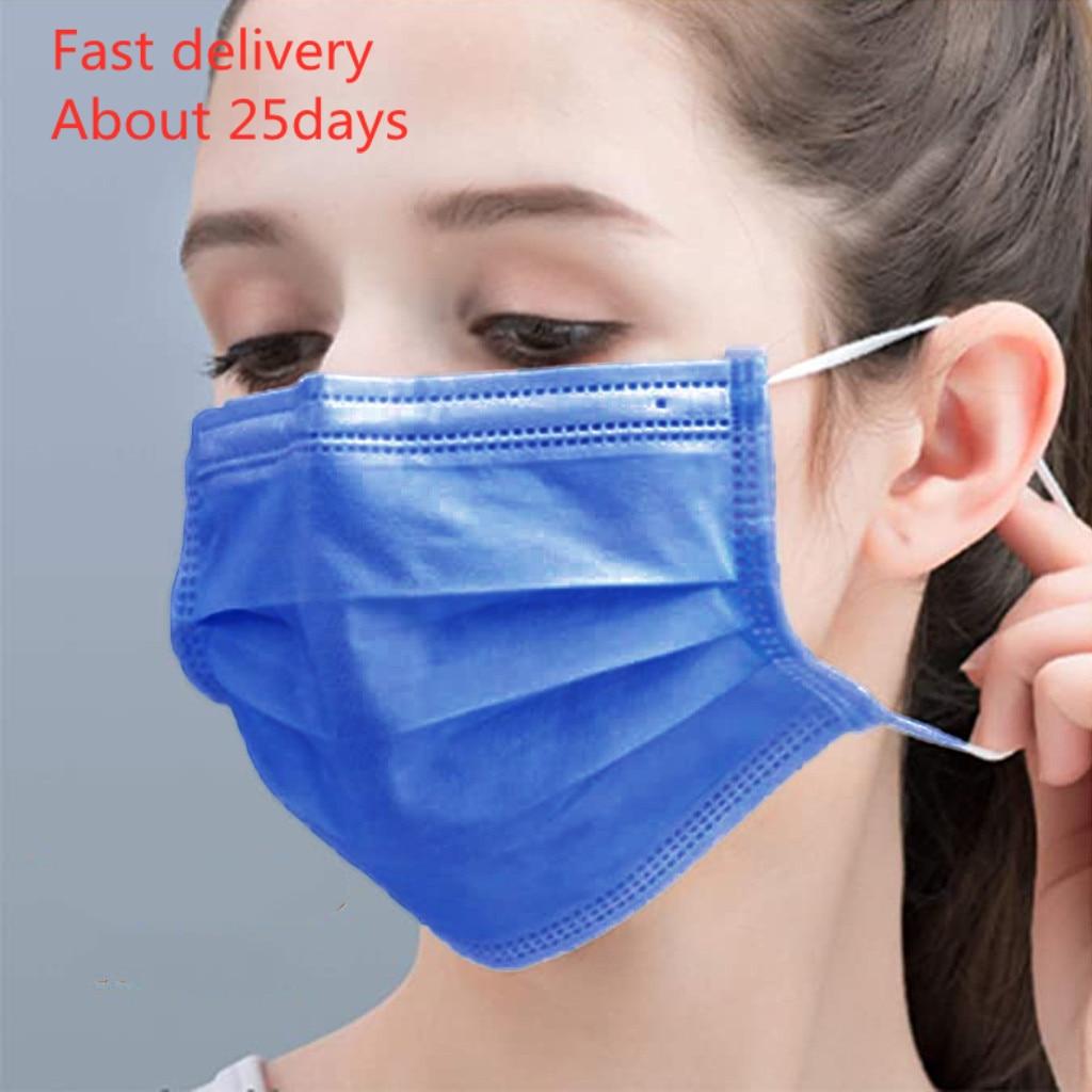 Face Mask Masque 50pcs Disposable Masks Civil Non-woven 3 Layer- Thick 50 Packs Adult Protective Mascaras