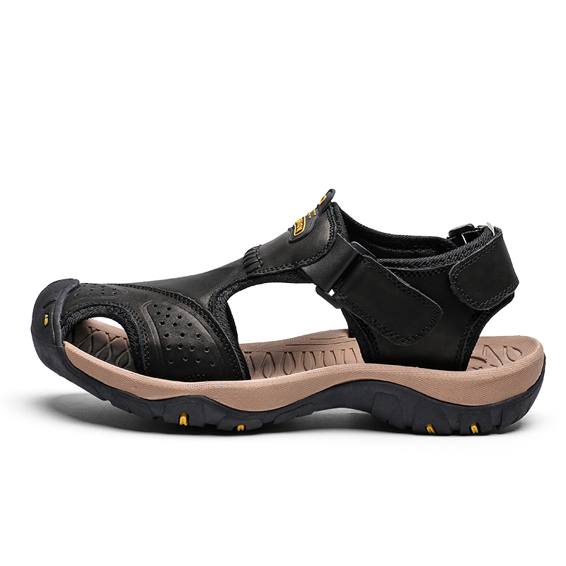Image 2 - High Quality Men Sandals Genuine Leather Sandals Summer Casual Shoes Men's Roman Beach Sandals Sandalias De Hombre De Cuero-in Men's Sandals from Shoes