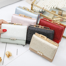US $3.0 |2019 Pearl Element Trifold Women Wallets Short Soft Leather Ladies Purse Clamp Designer Coin Pocket Card Holder Female Wallet-in Wallets from Luggage & Bags on AliExpress