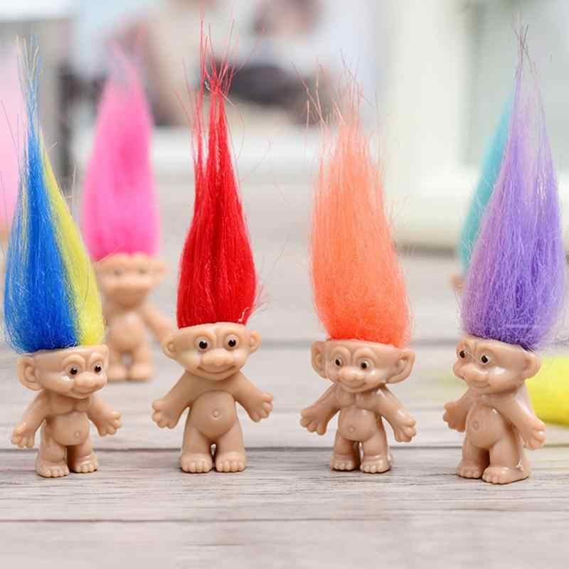 5 قطعة/المجموعة البلاستيك ماجيك الشعر الجنية خمر كبيرة الشيطان الدمى للطفل اللعب لعب الكرتون الطابع ترول دمية