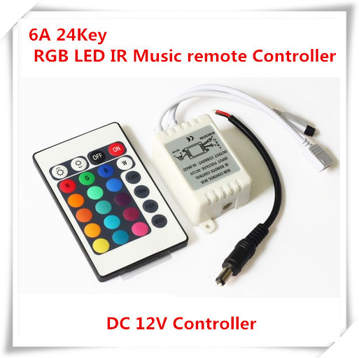 100PCS DC12V 6A 24Key Dual Output Port Connectors RGB <font><b>LED</b></font> <font><b>Dimmer</b></font> IR <font><b>Remote</b></font> Controller For 5050 2835 3528 3014 SMD RGB <font><b>LED</b></font> <font><b>strip</b></font> image