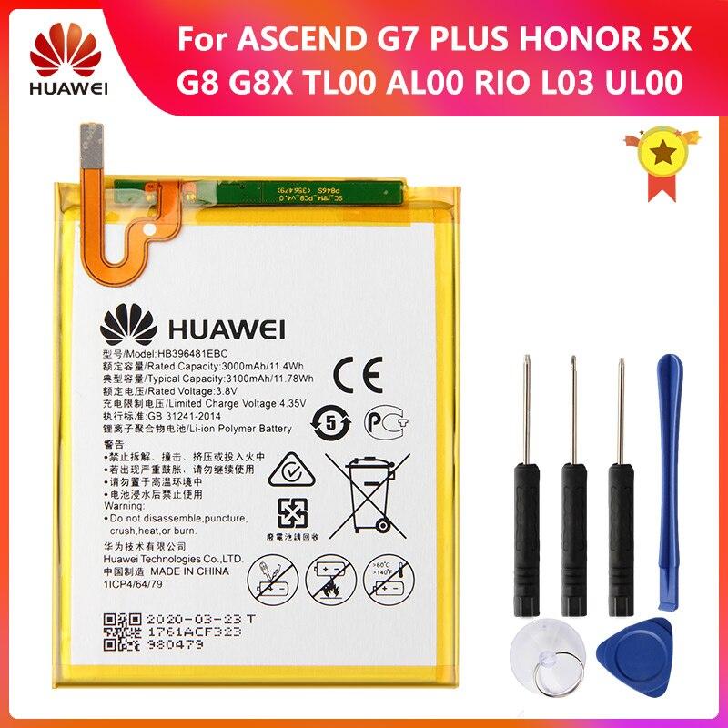 HUAWEI batterie dorigine HB396481EBC pour Huawei Honor Y 6II 5X G8 G8X RIO L03 ASCEND G7 PLUS CAM-AL/UL/TL00/H L03 CAM-L21 L23 L32