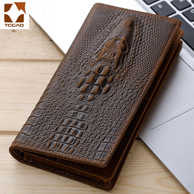 Men's Wallets Alligators Carteras Thin Mens Wallet Leather Genuine Clutch Made Of Crocodile Pattern Long Purse Portafoglio Uomo