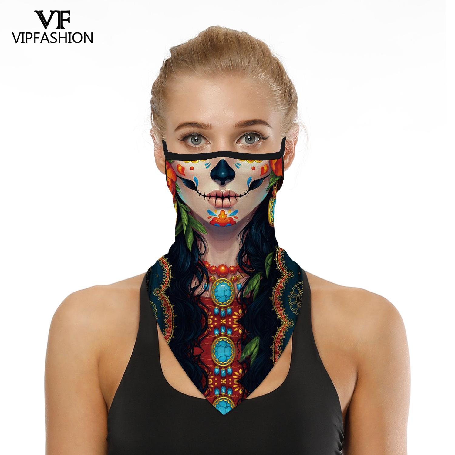 VIP FASHION Adult Skeleton Print Balaclava Bandana Ski Face Scarfs Camping Cycling Fishing Outdoors Neckerchief Triangle Scarves
