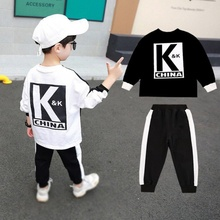 2 pcs/set Baby Boys Fashion Long Sleeve Autumn Alphabet Print Sweatshirt Tops+Pants Trouser Costume Children\s Set