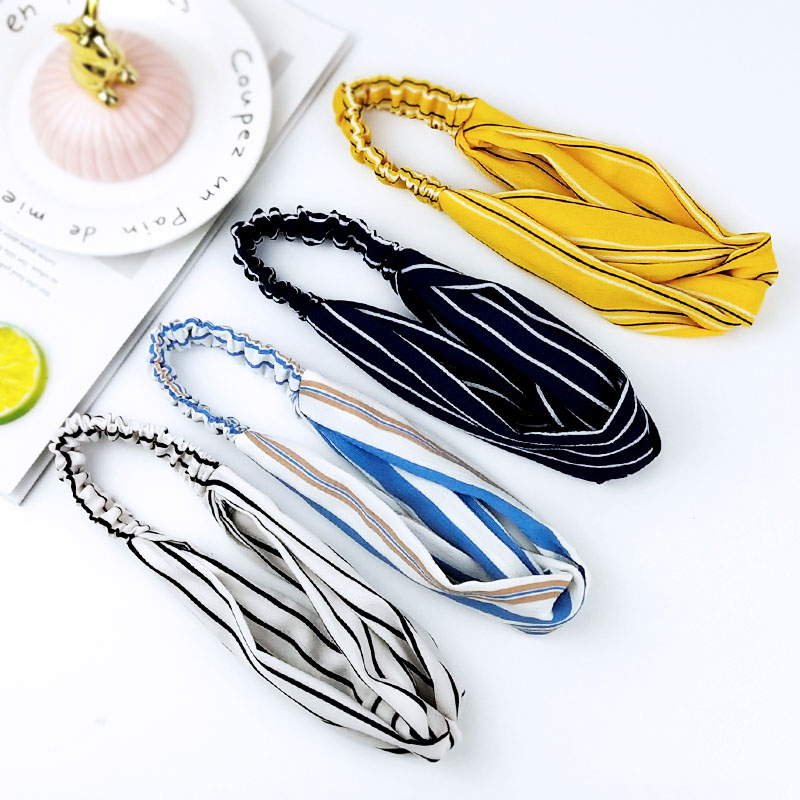 2020 Women Hair Band Striped Chiffon Headdress Wash Face Headbands Vintage Cotton Headdress Hair Accessories C025