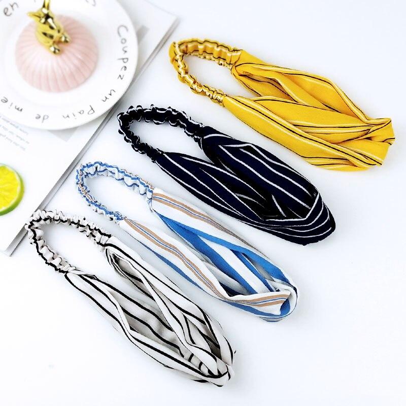 2020 Women Hair Band Striped Chiffon Headdress Wash Face Headbands Vintage Cotton Headdress Hair Accessories C025