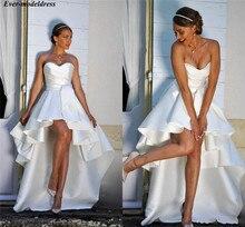 Hi Low Beach Trouwjurken 2020 Sweetheart Pleats Gedrapeerde Lace Up Simple Satijn Bruidsjurken Bruid Jurk Vestido de Noiva