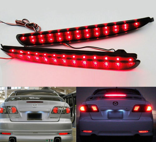 For <font><b>Mazda</b></font> <font><b>6</b></font> Mazda6 2003-2008 2004 2005 2006 2007 Smoked Lens <font><b>LED</b></font> Rear Bumper Reflector <font><b>Tail</b></font> Brake Stop <font><b>Light</b></font> Atenza image