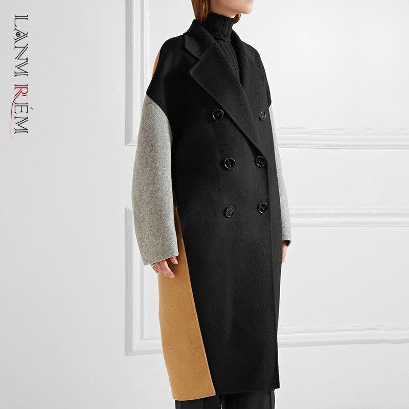 LANMREM 2021 printemps automne manteau mode nouvelles femmes Plus grand bloc couleur correspondant revers Double boutonnage cachemire manteau TC818