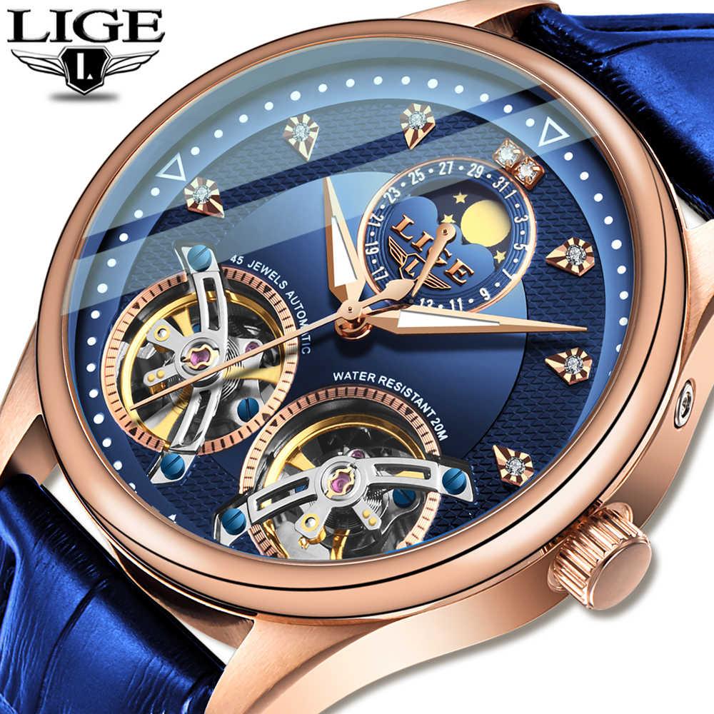 2020 LIGEใหม่นาฬิกาผู้ชายนาฬิกากลไกอัตโนมัตินาฬิกาTourbillon High Endนาฬิกาหนังแท้นาฬิกากันน้ำRelogio Masculino