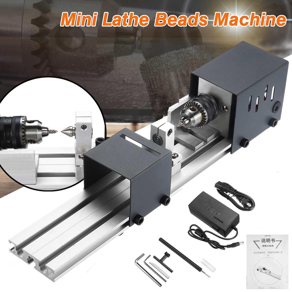 24V 80W Mini Lathe Beads Machine Polisher Table Woodworking DIY Rotary Tool Kit