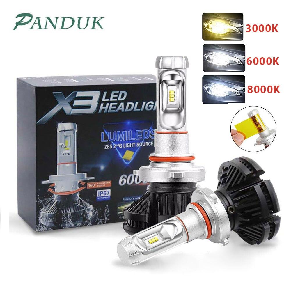 Panuduk carro luz zes h4 led h7 h11 3000 k 6000 k 8000 k hb3 9005 hb4 9006 carro faróis led lâmpadas 50 w 6000lm farol auto x3