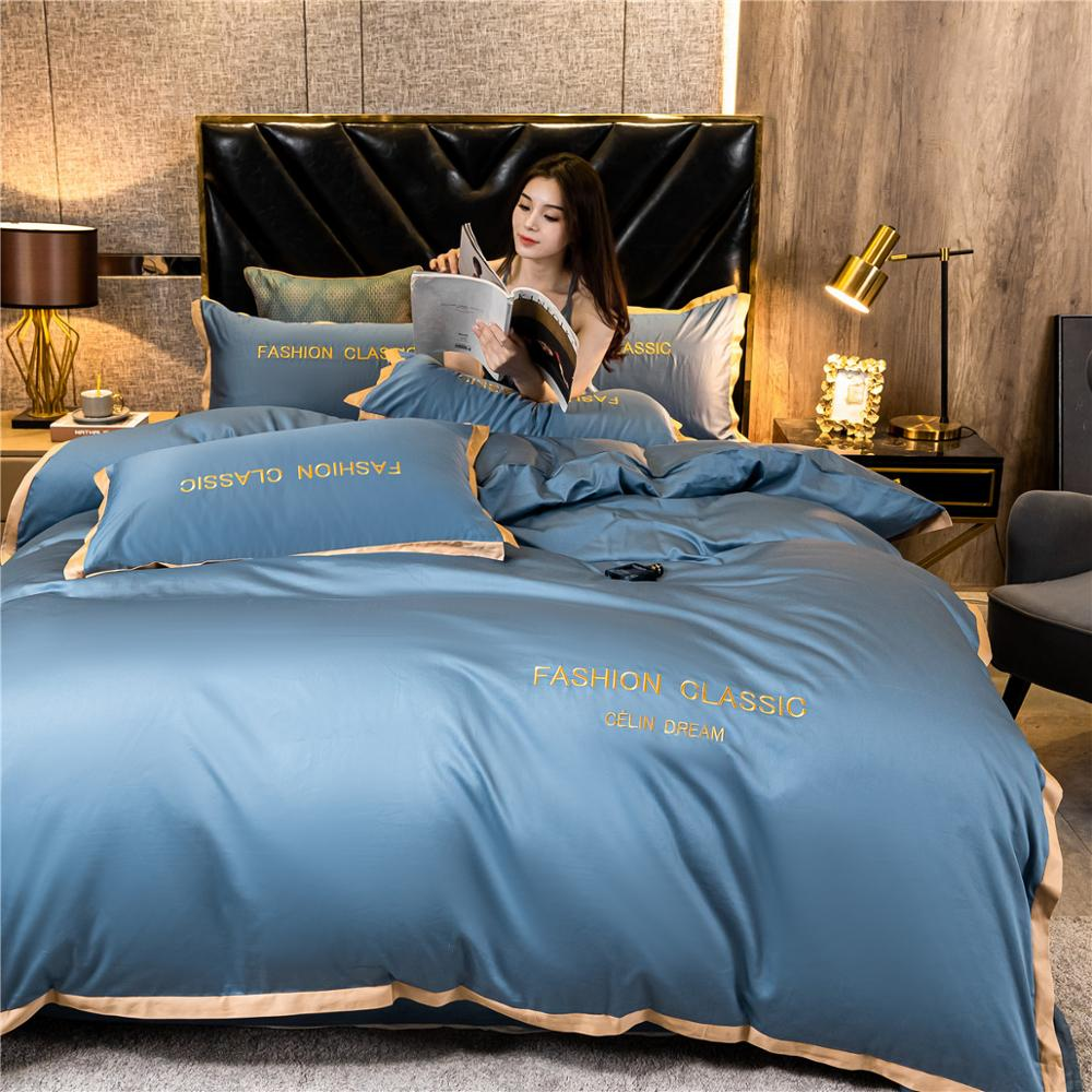 High-end quality Egyptian cotton bedding set embroidered satin light luxury quilt cover duvet cover bed sheet pillowcases 3