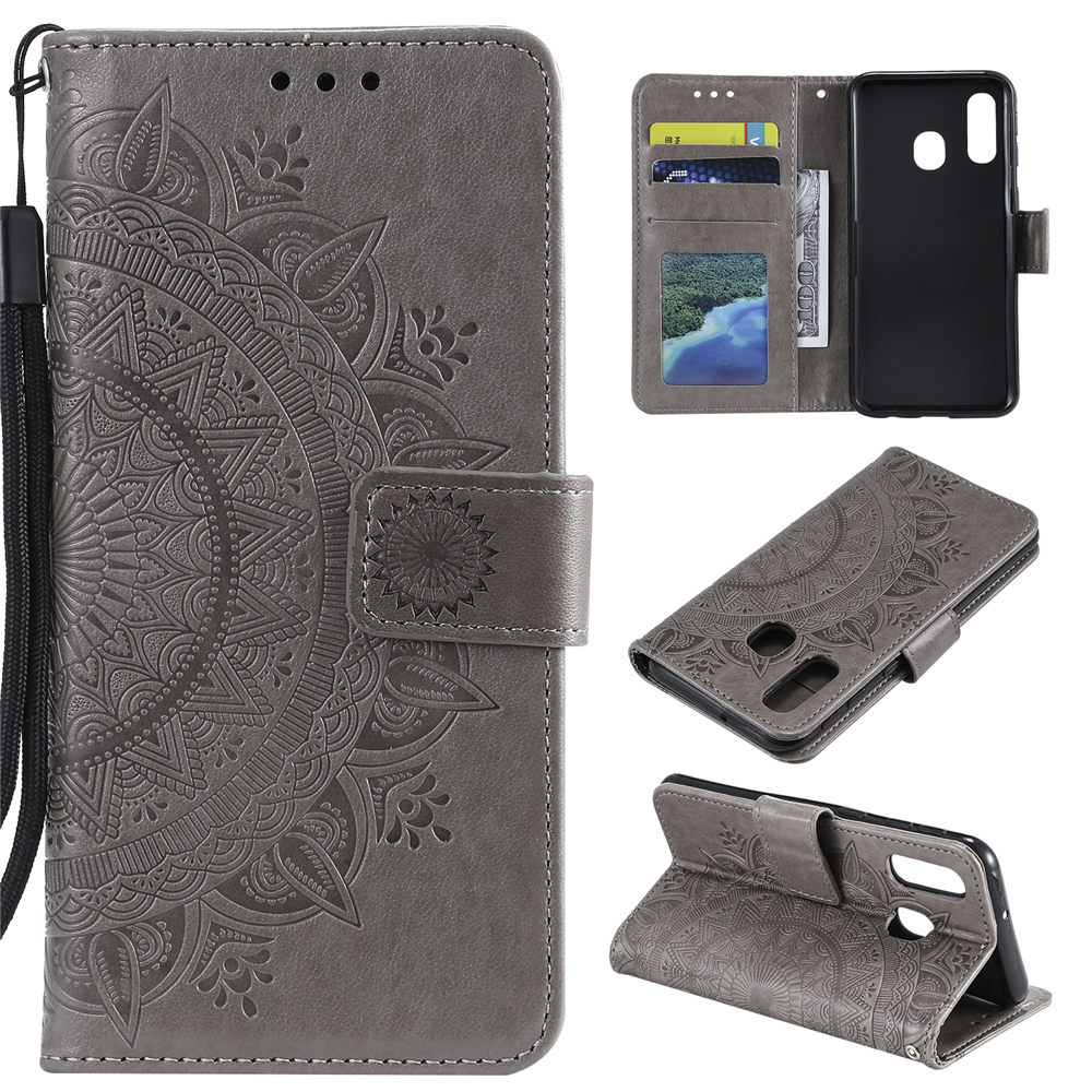 Slim Flip Stand Embossed PU Leather Wallet Samsung Galaxy Cover
