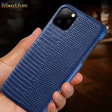 Genuine Leather Cover Case For iPhone 11 Pro Max Case Lizard Pattern Phone Funda Back Case For iPhone 11 11Pro Max Cover