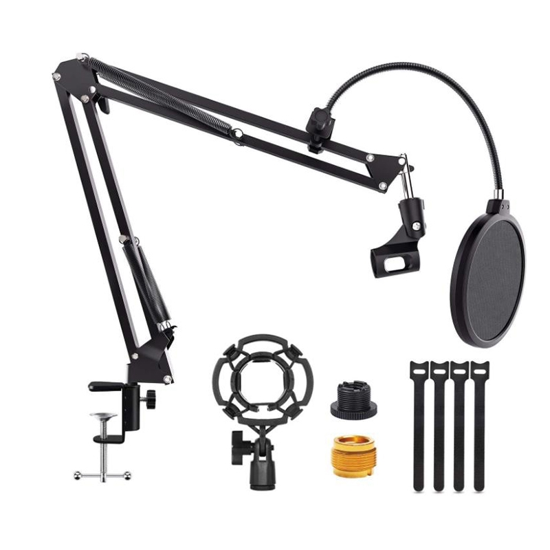 Microphone Boom Arm Stand Adjustable Suspension Scissor Stand with 3/8 to 5/8inch Screw Adapter,for Blue Snowball,Etc