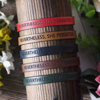 New Genuine Leather Bracelet for Women Personality Jewelry Best Friend Sister MOM Bridesmaid Gift NEVERTHELESS, SHE PERSISTED