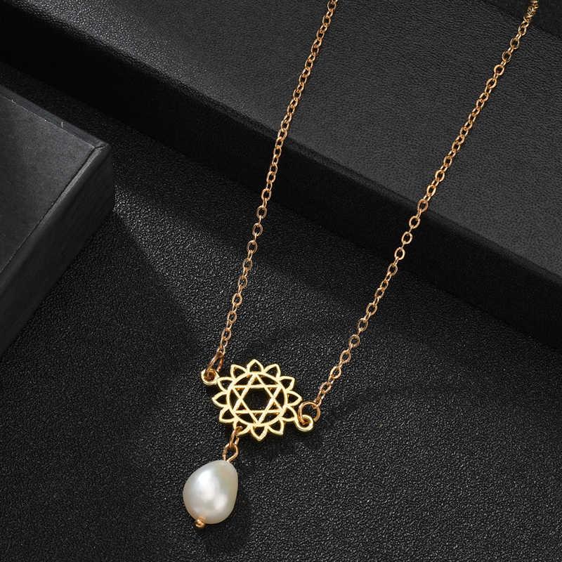 ผู้หญิงน้ำจืดสร้อยคอไข่มุกดอกไม้ Hollow Gold สี Endless Love Choker สร้อยคอเครื่องประดับของขวัญอุปกรณ์เสริม