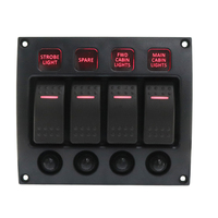 4 Gang Curved Waterpoof LED Switch Panel with Circuit Breakers Back Light
