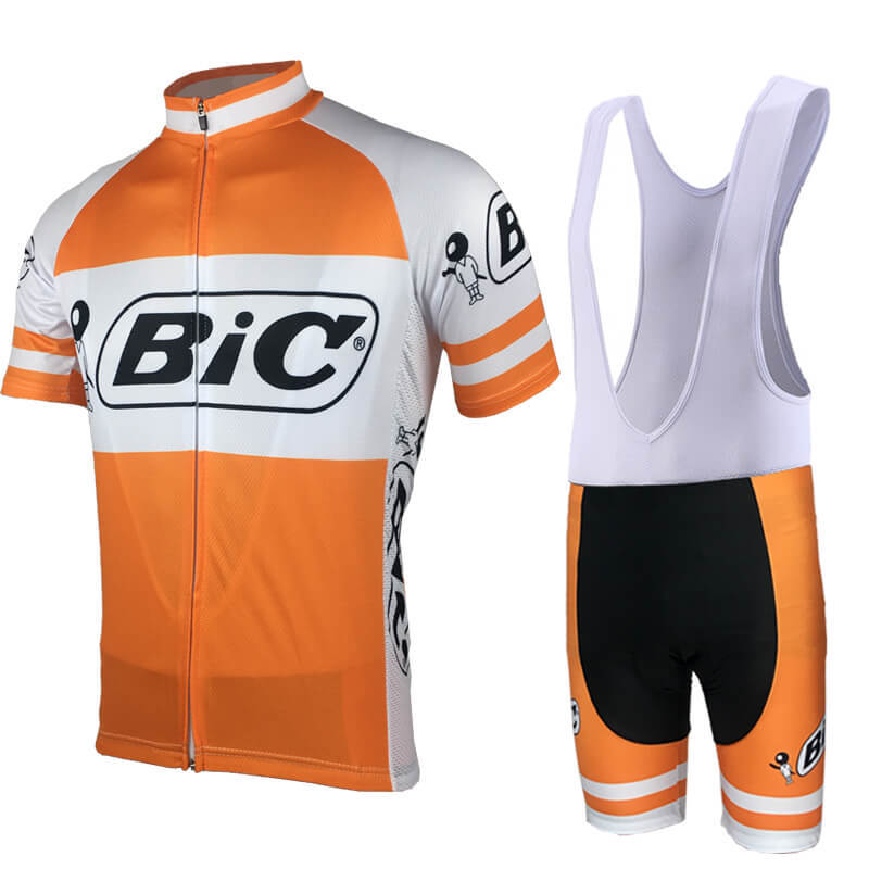 Bic 2019 Orange Cycling Clothing Men Cycling Suit Short Sleeve Cycle Jersey Sets Breathable Bicycle Wear Cycle Kit 9D Bib Shorts