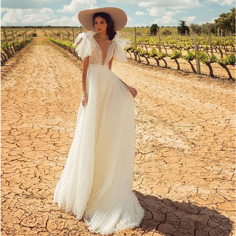 Verngo A-line Wedding Dress Backless Wedding Gowns Elegant Bride Dress Classic White Point Long Dress Abito Da Sposa