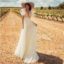 Verngo אונליין חתונת שמלה חשופה גב אלגנטי הכלה שמלת קלאסי לבן נקודת ארוך שמלת Abito דה Sposa