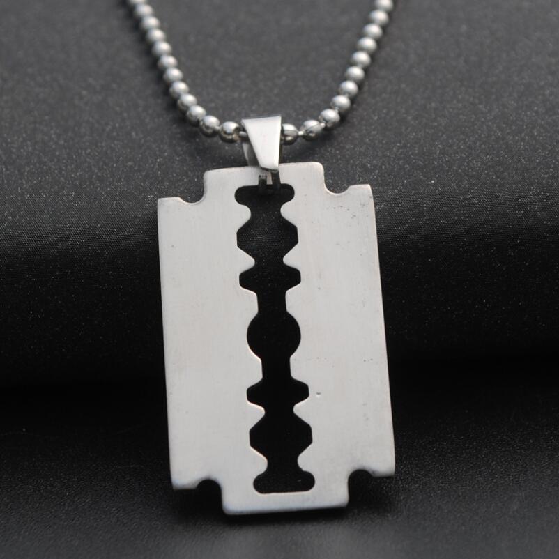 Горячее предложение, крутая Мужская подвеска из нержавеющей стали, серебряный цвет, цепочка с шариковым лезвием, мужское ювелирное изделие, стальное мужское ожерелье в форме бритвы|Ожерелья с подвеской|   | АлиЭкспресс