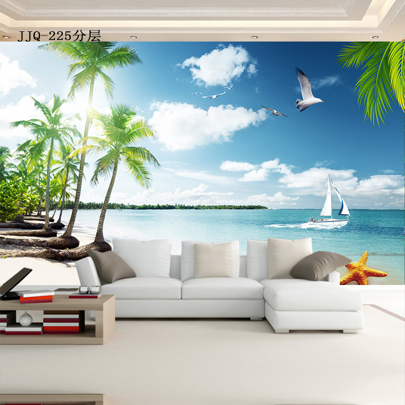 5D Stereo Palm Sea Scenery Living Room Bedroom Sofa 8D TV Background Wallpaper Mural Wall Cloth