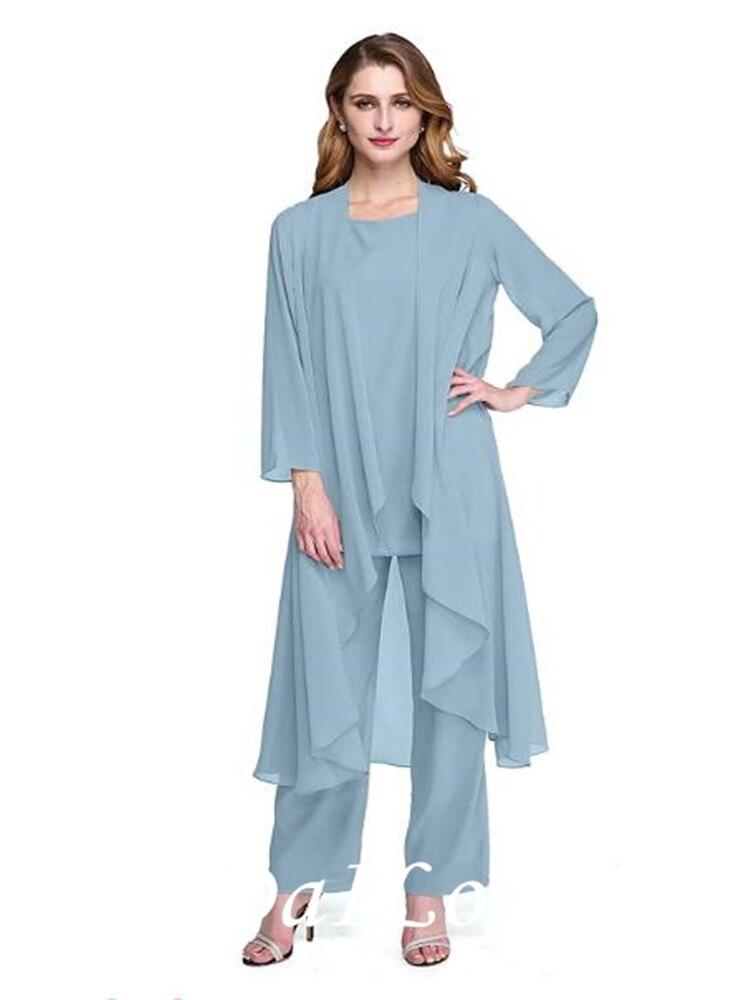 Pantsuit / Jumpsuit Mother of the Bride Dress Plus Size Elegant Bateau Neck Floor Length Chiffon Long Sleeve with Sash 2021