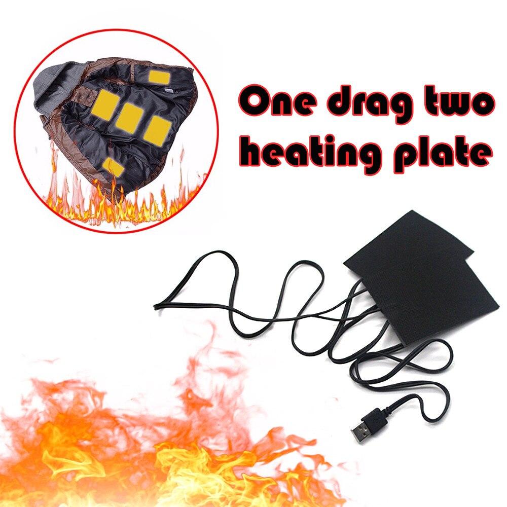 1 Set Carbon Fiber USB Heating Vest Pad Heated Jacket Clothes Pad Heater Winter Warm Thermal Vest Pads