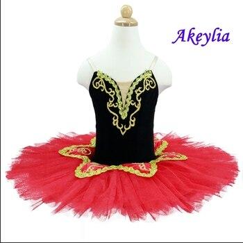 Professional Ballet Tutu Pancake Tutu Spanish  Black red Ballet Tutu for Girls Ballet Stage Costumes for baby tutu with leotard воротник tutu tutu tu006ggwtf02