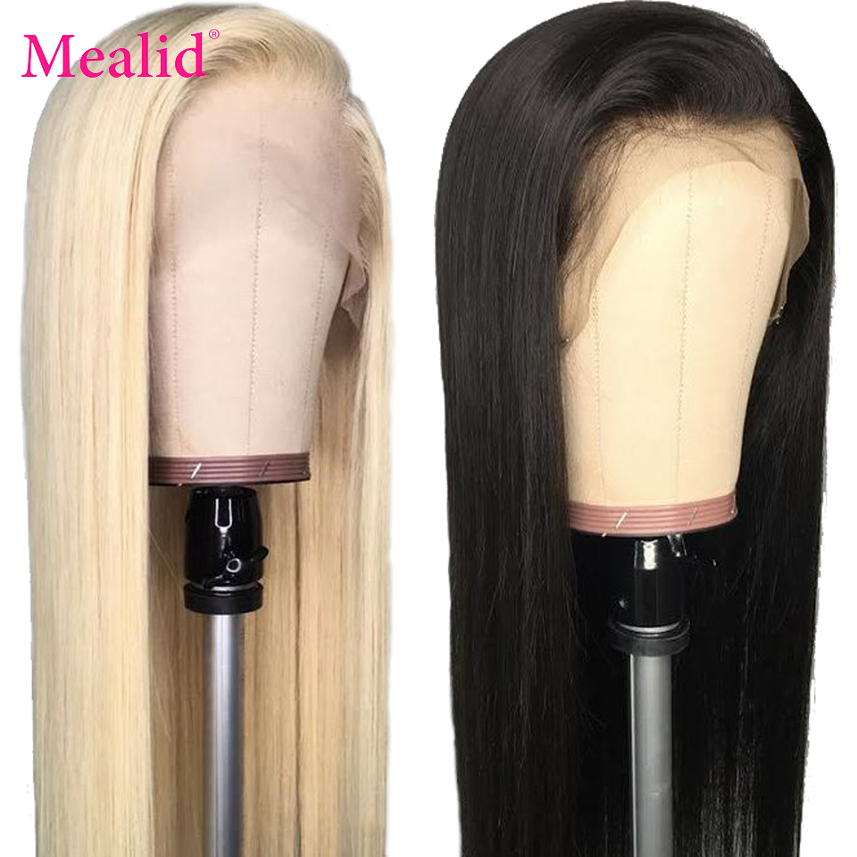 Glueless 613 Blonde Lace Front Wigs Remy Brazilian Straight Hair Lace Front Human Hair Wigs 13x4 Pre Plucked With Baby Hair image