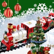 Рождество электрический вагон поезд Игрушка Детская электрическая игрушка набор железнодорожных поездов гоночный Дорожный транспорт строительные игрушки 282539
