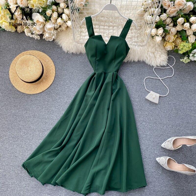 YuooMuoo 2020 Brand Design V-neck Vintage Back Bandage Dress Women Summer Elegant Big Swing Long Party Dress Fashion Green Dress