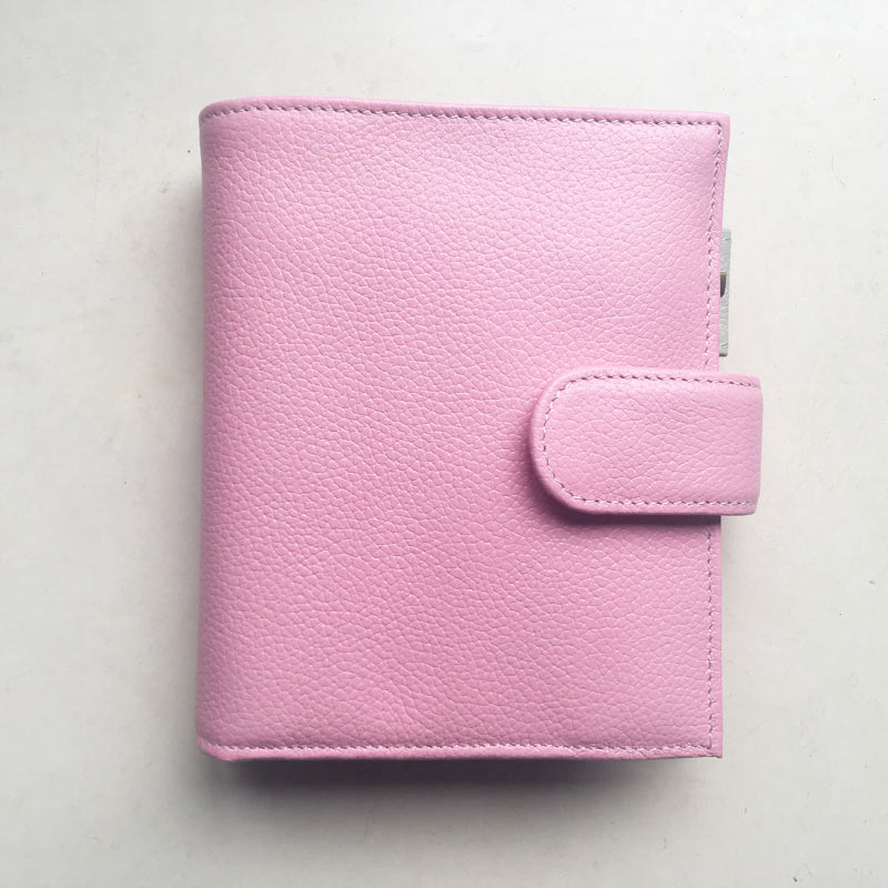 Yiwi A7 Pocket Pink Beige Genuine Leather Planner Loose Leaf Binder Notebook With Money Pocket