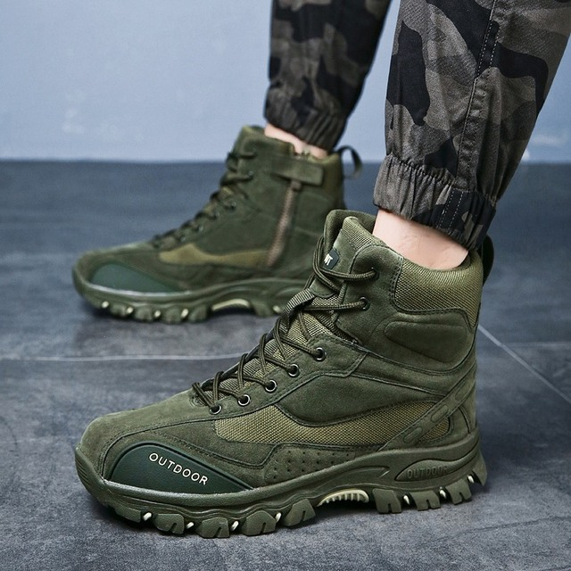 Tactical Military Boots Men Genuine Leather US Army Hunting Trekking Camping Mountaineering Winter Work Shoes Zapatos Hombre 5