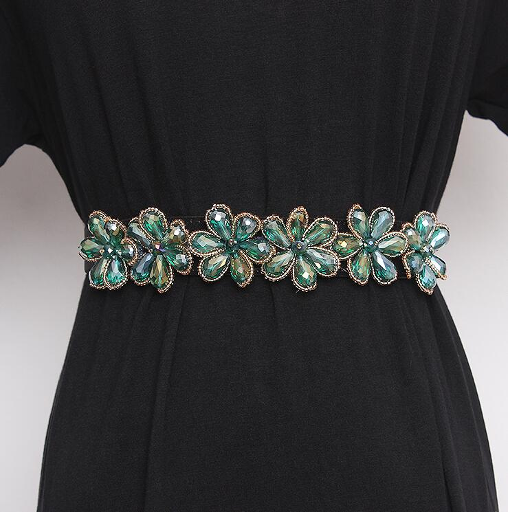 Women's Runway Fashion Blingbling Rhinestone Beaded Cummerbunds Female Dress Corsets Waistband Belts Decoration Wide Belt R2848