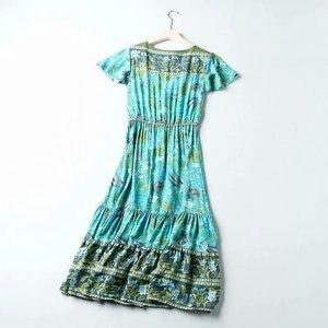 Image 3 - Vintage chic kobiety kwiatowy print rękaw w kształcie skrzydła nietoperza plaża czeski maxi sukienki damskie V neck Tassel lato rayon sukienka Boho vestidos