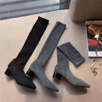 2019 Autumn Boots Women's Knee Boots Long Boots Thick Thin High Tube Net Red Pointed Socks Boots Women Winter Knee High Boots