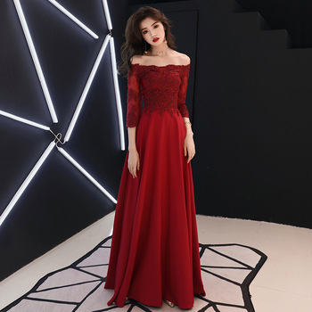 Off Shoulder Burgundy Female Evening Party Gown Elegant Lace Sleeve Long Slim Cheongsam Sexy A-line Qipao Vestidos Defesta