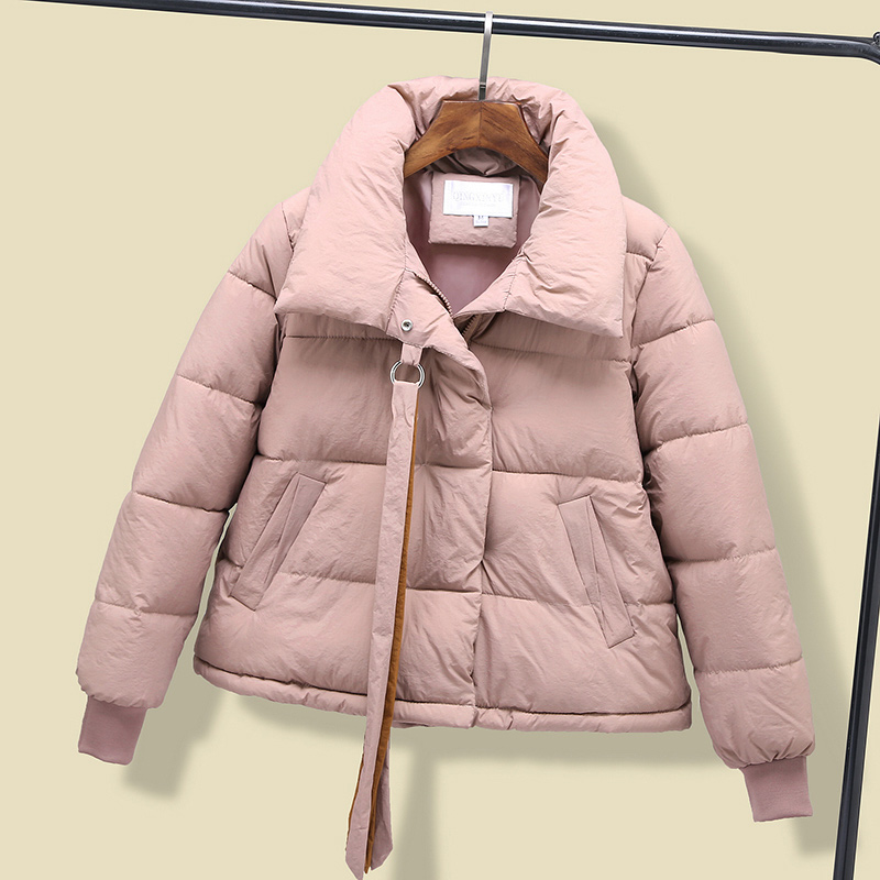 Winter Ribbons Short Puffer Coat Park Women Cotton Padded Stand Collar Solid Thicken Jackets Female 2019 Students Korean   Parkas