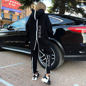 Free shipping new women's loose letters sports set casual zipper long sleeve hooded collar sweater & pants two-piece set