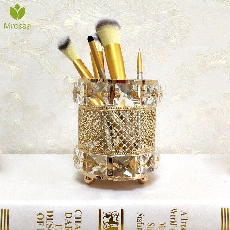 Organizer Makeup-Brush Storage-Tube Pencil-Makeup Crystal Metal Creative Europe Bead